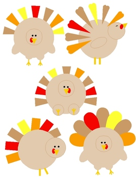 Shape Turkey Clip Art: 5 PNGs for Thanksgiving and Autumn