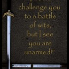 Shiny Sword Illustrates Shakespeare Quote Battle of Wits &