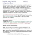 Short Story Comparison Essay Assignment Handout