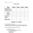Short Story and Novel Tableau Rubric