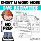 Short u Word Work Activities CVC Words