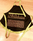 Show and Tell Apron (black apron with apple pocket)