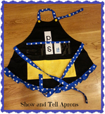 Show and Tell Apron (black apron with yellow pocket and bl
