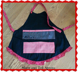 Show and Tell Apron (black apron with red plaid and polka dots)