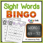Sight Word Bingo Words Forty nine through Seventy two Colo