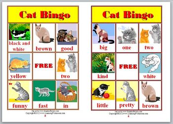 Sight Word Cat Bingo Game