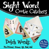 Sight Word Cootie Catchers for Kindergarten, 1st, 2nd, and