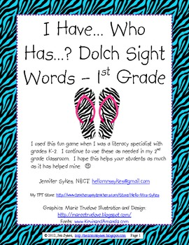 Sight Word Game - Dolch grade 1 list