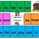 Sight Word Parking Lot Game (Board # 3, K/1 Sight Words)