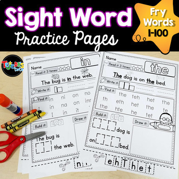 Sight Word Practice Pages: Picture-Supported, Fry Words 1-100