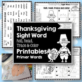 Sight Word Printables: Roll, Read, Trace & Color Thanksgiv