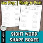 Sight Word Shape Boxes Worksheets