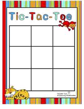 Sight Word Tic-Tac-Toe for Preschool, Kindergarten, First,