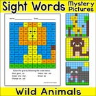 Sight Words Mystery Pictures Worksheets - Wild Animals