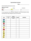 Sign Identification Worksheet