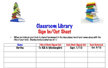 Sign Up Sheet for Classroom Library