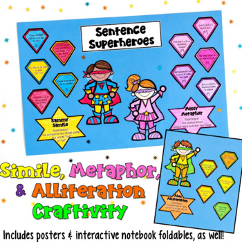 http://www.teacherspayteachers.com/Product/Similes-Metaphors-Alliteration-Craftivity-Superheroes-includes-posters-789382