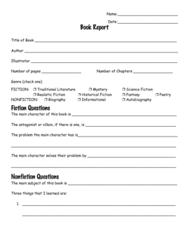 writing a book report for elementary students