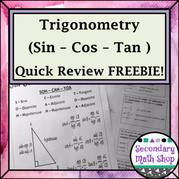 Sin Cos Tan Quick Review Freebie!