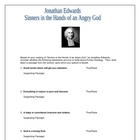 Sinners in the Hands of an Angry God Worksheet w/answers Edwards