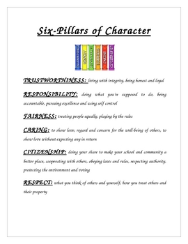 Printables Six Pillars Of Character Worksheets six pillars of character worksheets davezan davezan