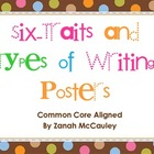 Six Traits and Types of Writing Posters (Dots on Chocolate)