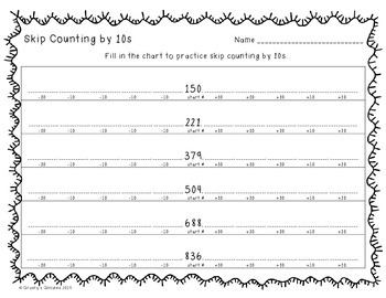 {Freebie} Skip Counting by 10s Worksheet: 3 Digit Numbers