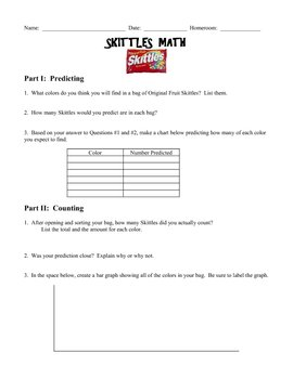 Skittles Math Worksheet