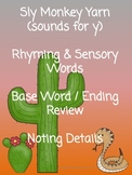Sly Monkey Yarn Sounds for Y Sensory Rhyming Base Words No