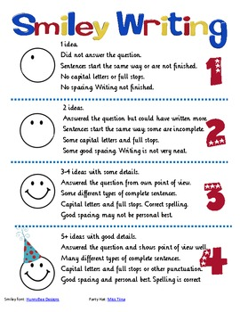 Smiley Writing Poster and Rubric for Story
