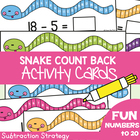 Snake Count Back Set 2 - Math Center Activity Cards Subtraction