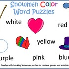 Snowman Color Word Puzzles