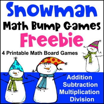 Snowman Math Bump Games Freebie