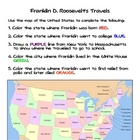 Social Studies Franklin Roosevelt's Travels Worksheet