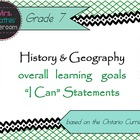 "History/Geography Gr 7 Learning Goals ""I Can"" Statements ("