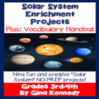 Solar System 3rd, 4th Grade Enrichment Project Menu, Creat