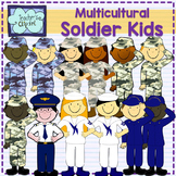 Soldier kids clipart {Multicultural}