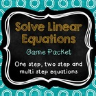 Solve Equations Game Packet