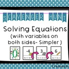 Solving Equations (Variables on Both Sides - Simpler) Scav
