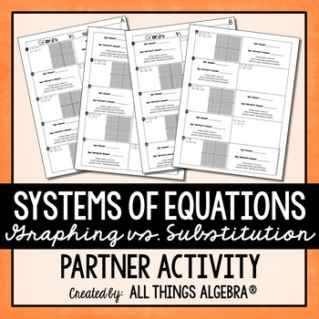 Solving Systems of Equations by Graphing and Substitution - Partner Activity