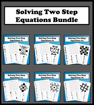 Solving Two Step  Equations Color Worksheets Packet