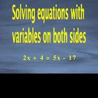 Solving equations with variables on both sides powerpoint
