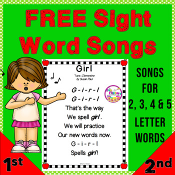Songs for High Frequency Words, FREE!!
