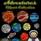 Space Adventures Clip Art Collection-24 Images Line/Color