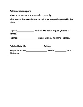 Spanish Bellwork me llamo and greeting activity