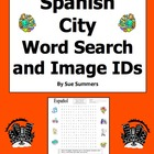 Spanish City Shops Word Search and Vocabulary IDs Worksheet