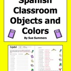Spanish Class Objects & Colors Worksheet & Image IDs