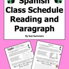 Spanish Class Schedule Paragraph with Order Words, Student