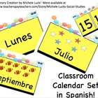 Spanish Classroom Calendar Set Days, Months, Dates