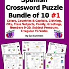 Spanish Crossword Puzzle BUNDLE of 10 - Family, City, Colo